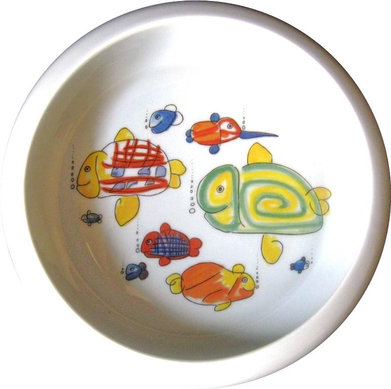 BOPLA-Porzellan-Bebe-Baby-Muesli-Teller-2-Katzen-im-Gras